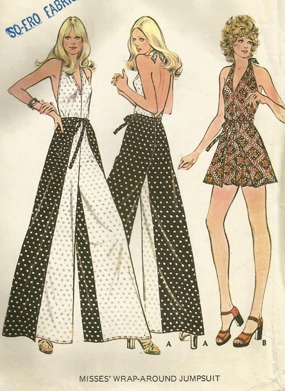 Vintage 70s McCalls 3477 UNCUT Misses Wrap Around Halter Jumpsuit or ...