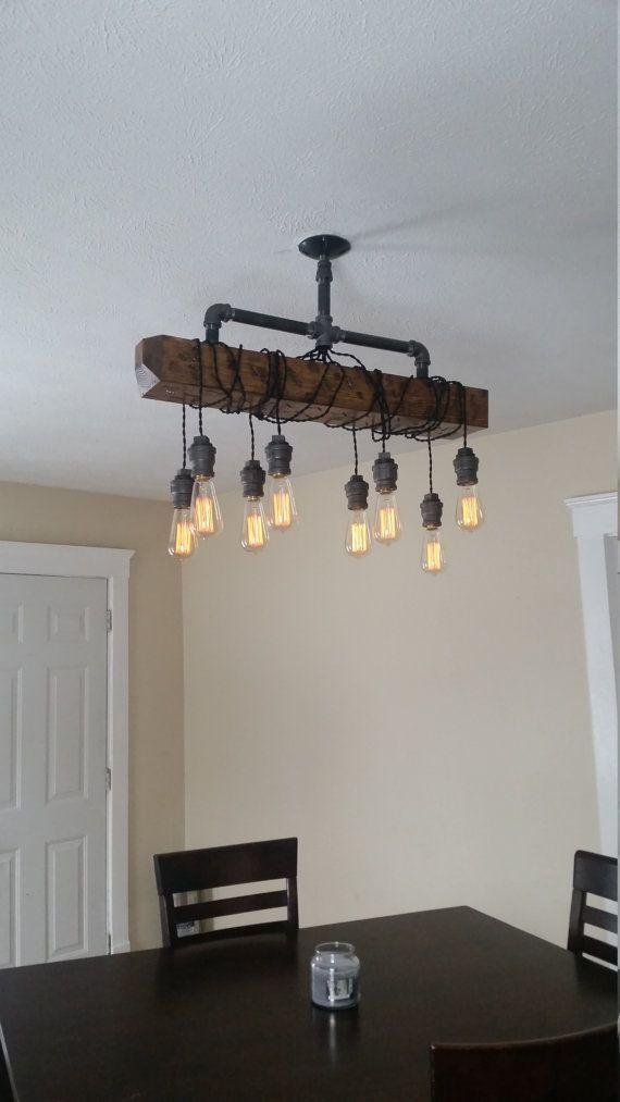 Verontruste hout Beam hanger kroonluchter - Pipe licht - schuur hout ...