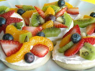 mini fruit pizzas on sugar cookies