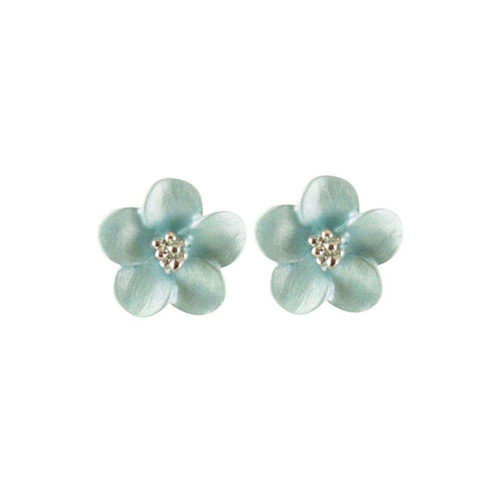Anemone Navy Blue Enamel Flower Silver Tone Stud Pierced Earrings With Gift Box gTbDQsy