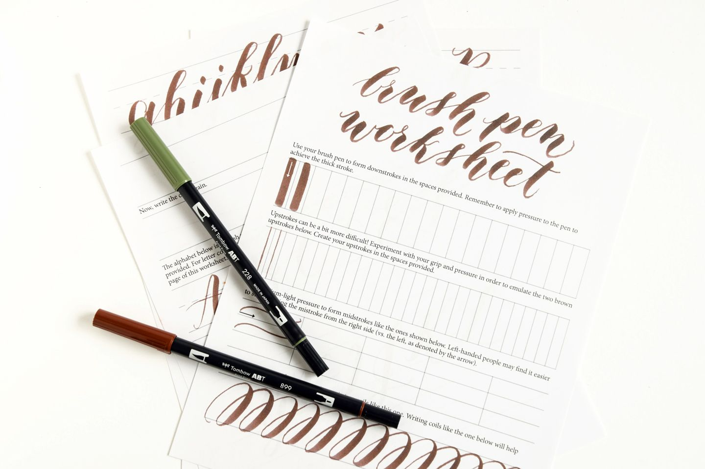 Free Brush Pen Calligraphy Worksheet With Images
