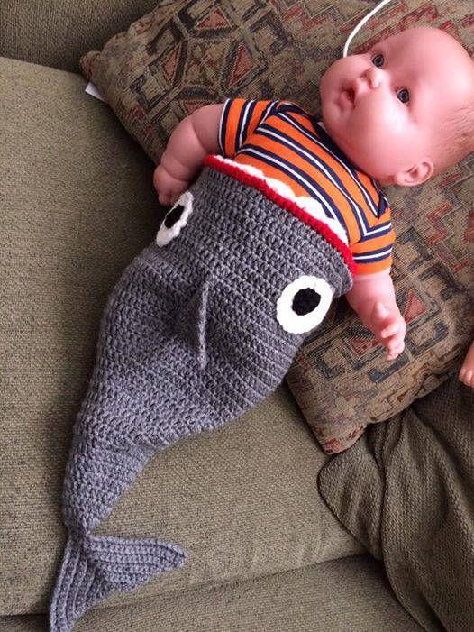 Crochet bebé tiburón capullo   baby cagoons!   Pinterest   Bebé ...