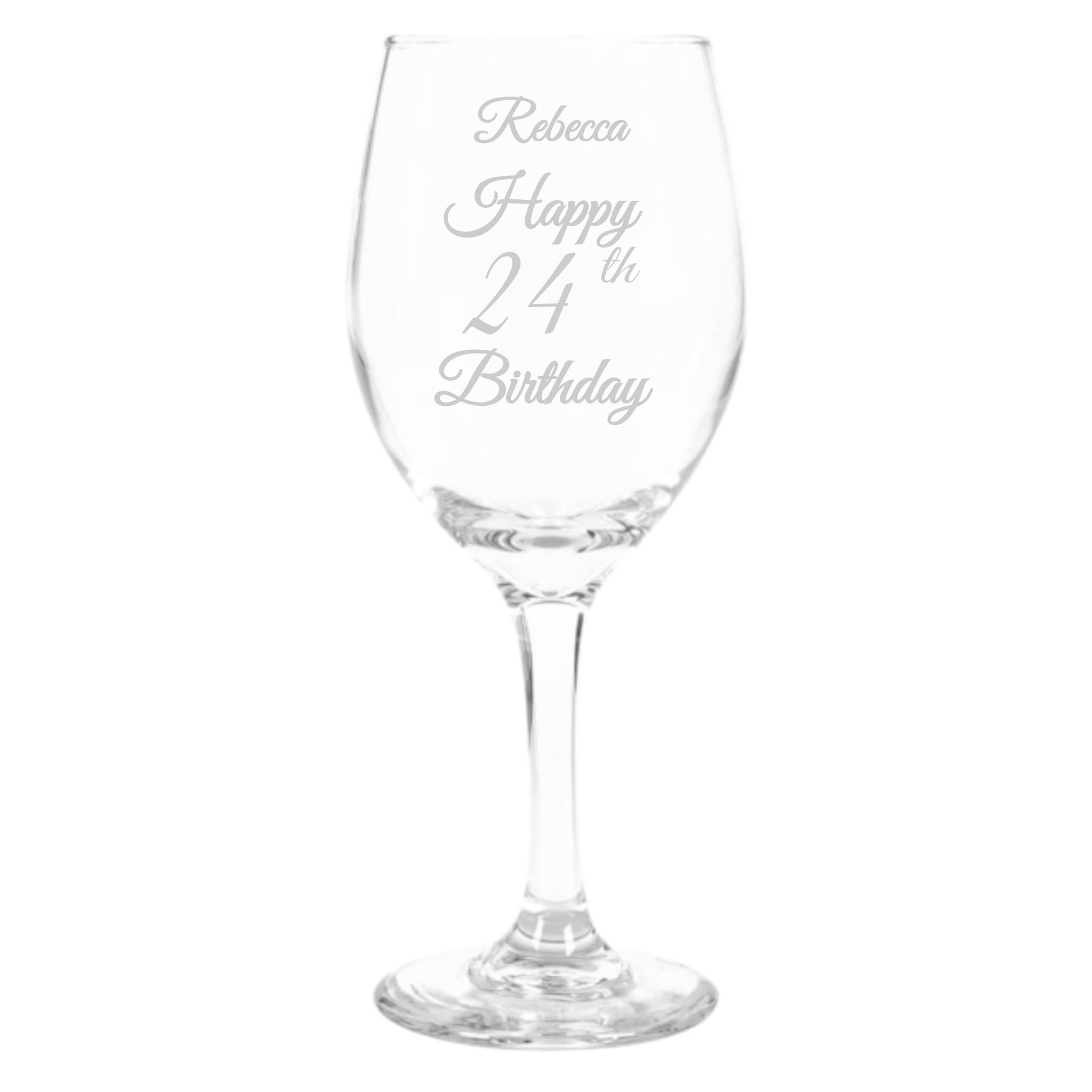 Beautiful hand-etched wine glass, personalized with name