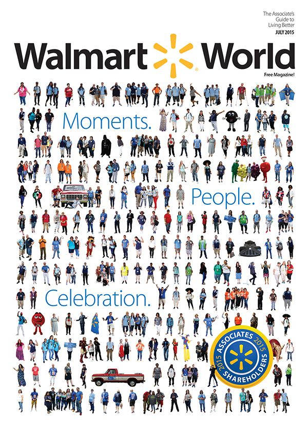 The July issue of Walmart World is filled with great moments and great people from Shareholders' Week 2015. The cover features more than 200 associates and characters from the eventful week. #Walmart #WMTShares