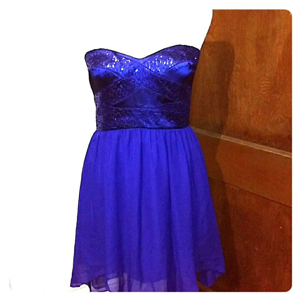 Adrianna Papell Strapless Royal Blue Formal Dress