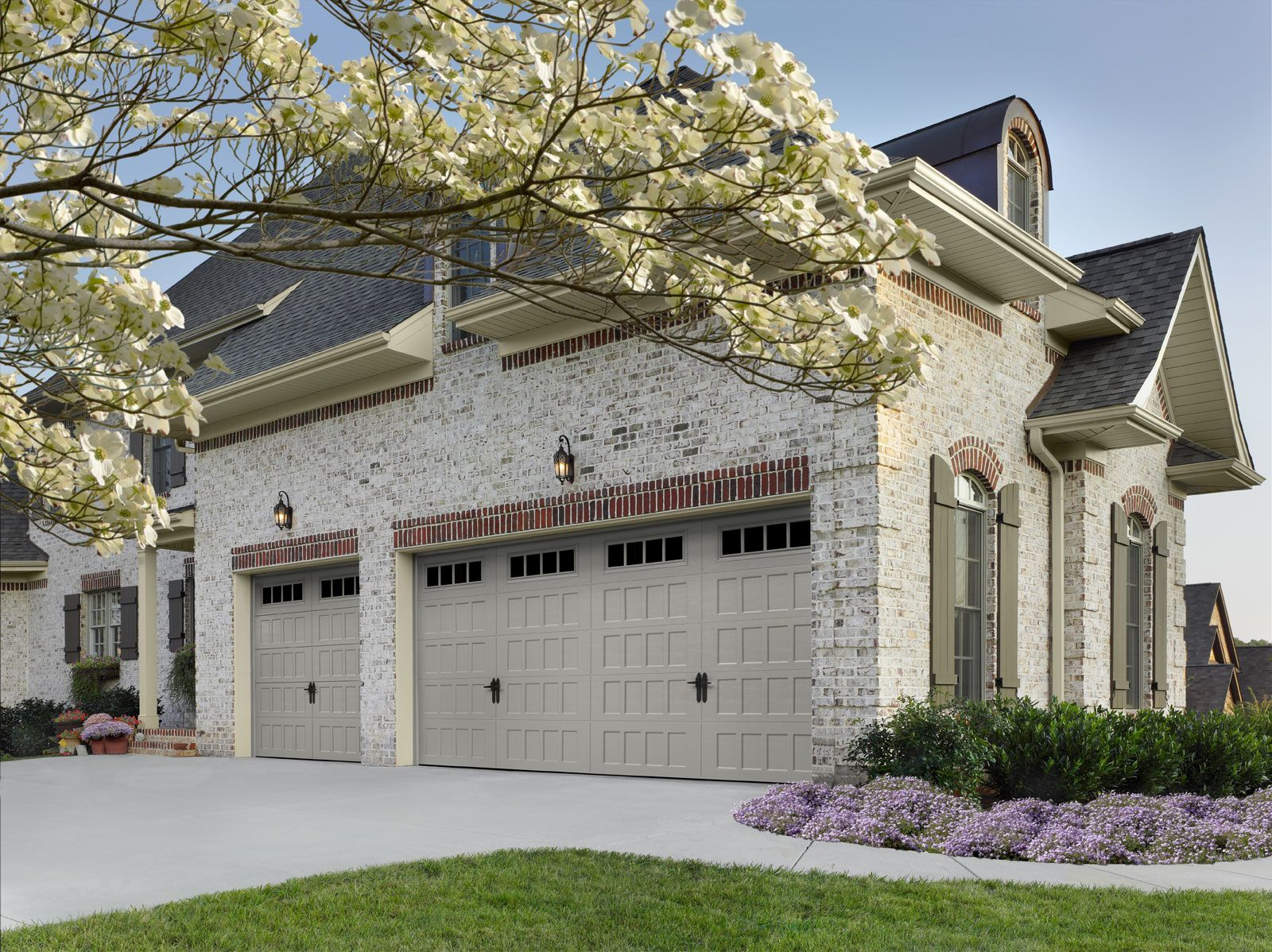 Amarr Oak Summit® Recessed Panel Garage Door In Sandtone With Thames  Windows And Optional Alpine Lock. Visit Www.amarr.com For More Great Styles.