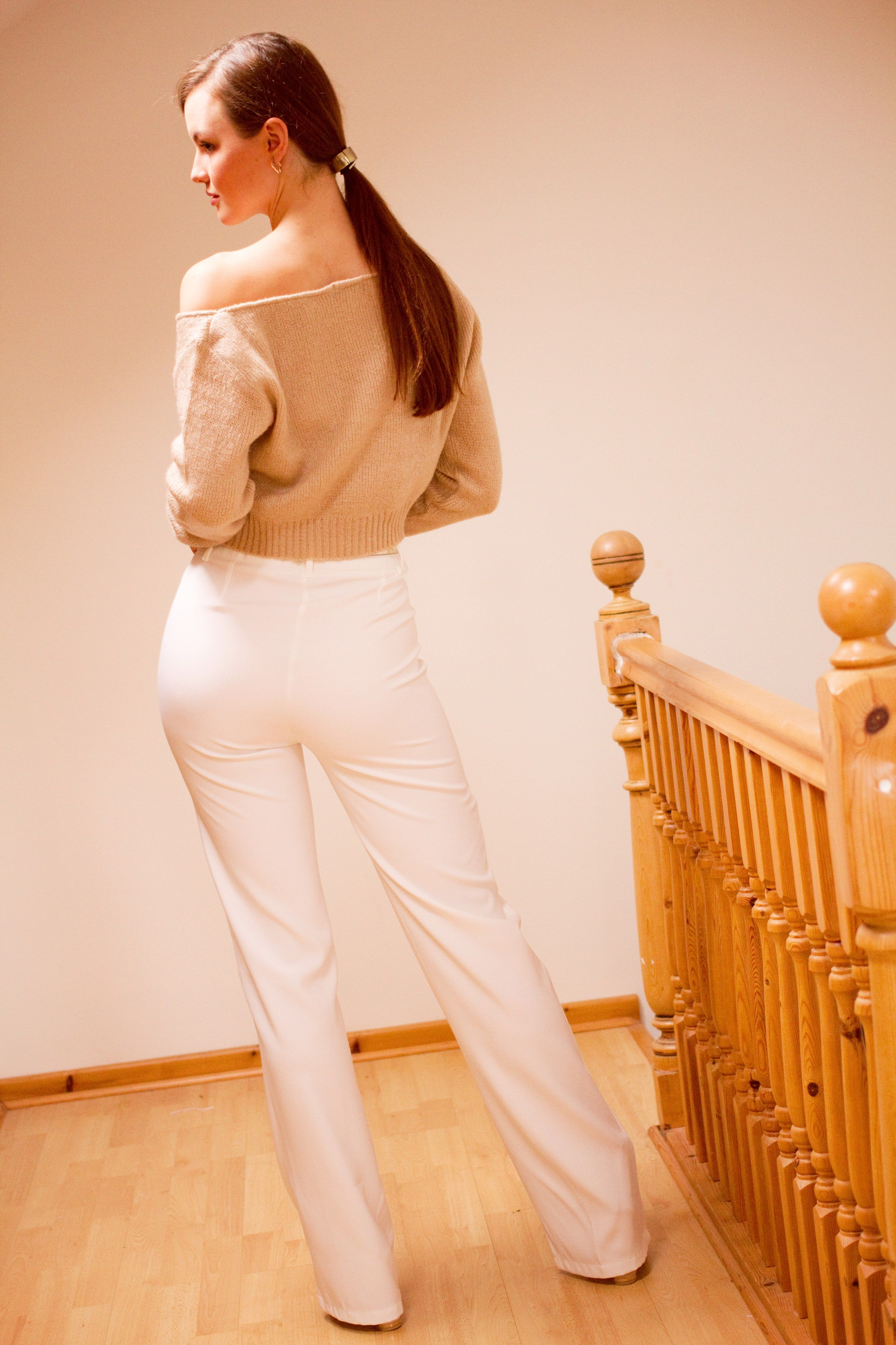 9 things that made me happy lately | white straight leg trousers with beige off the shoulder sweater