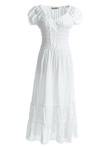 75f652e041e Anna-Kaci Peasant Maiden Boho Inspired Cap Sleeve Lace Tr... https