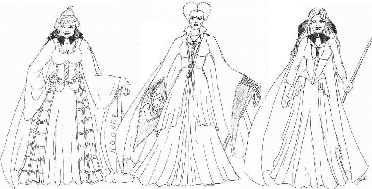 Hocus Pocus Winifred Sarah And Mary The Sanderson Sisters Coloring Pages Gothic Halloween Beautiful Creatures