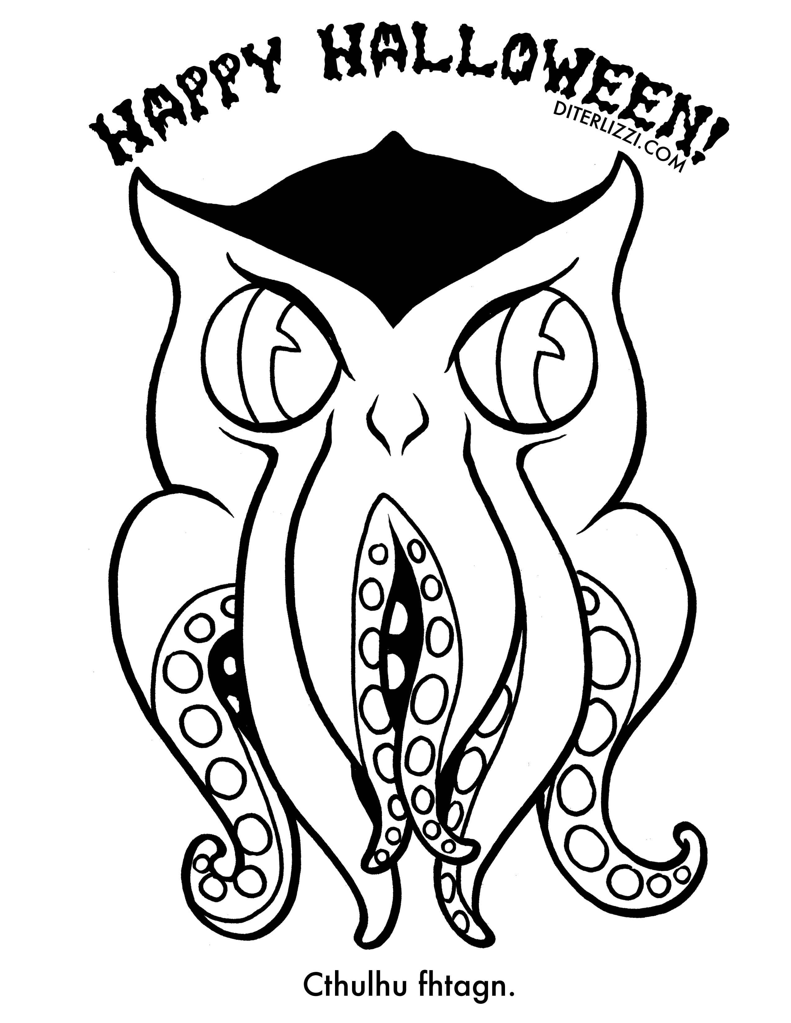 Cthulhu.jpg (2550×3300) | Coloring Pages & Paper Dolls | Pinterest ...