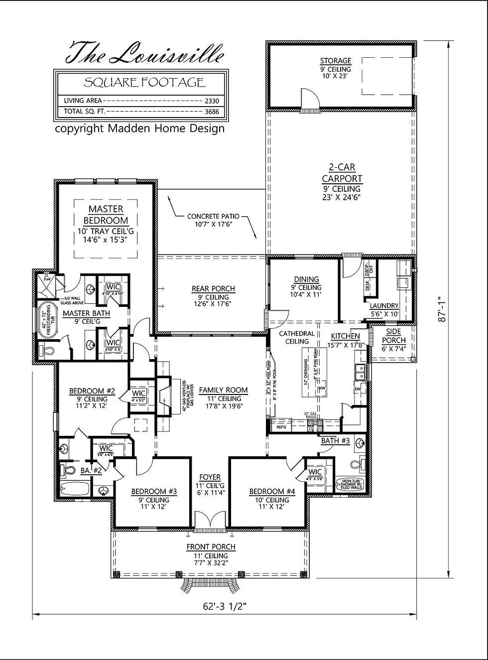 Madden Home Design - The Louisville Acadian style, 4 bedroom, 3 bath ...