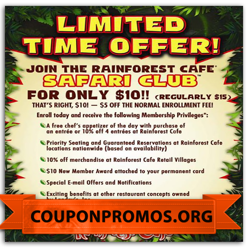 picture regarding Rainforest Cafe Printable Coupon known as cost-free rainforest restaurant low cost coupon for January Printable