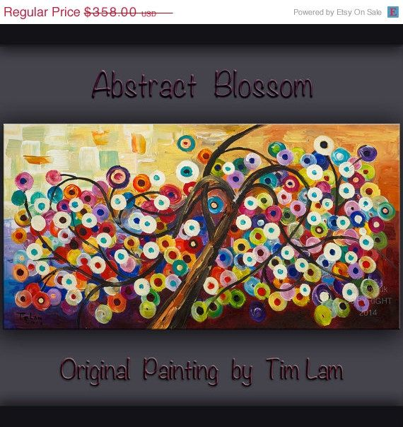 Sale Huge Art abstract painting original Modern Impasto Texture Acrylic Painting on gallery wrap canvas by tim lam 48x24