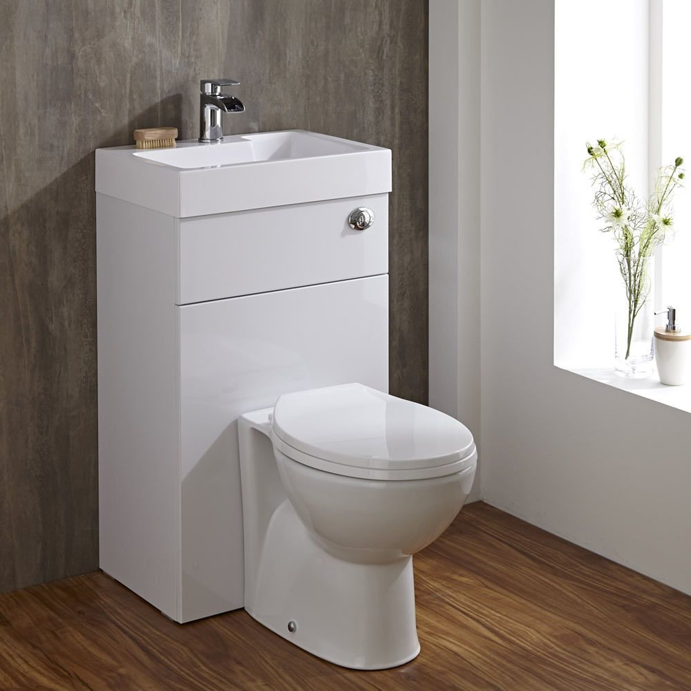 Linton Space Saving Bathroom White Combination Toilet Wc Basin Sink Unit Space Saving