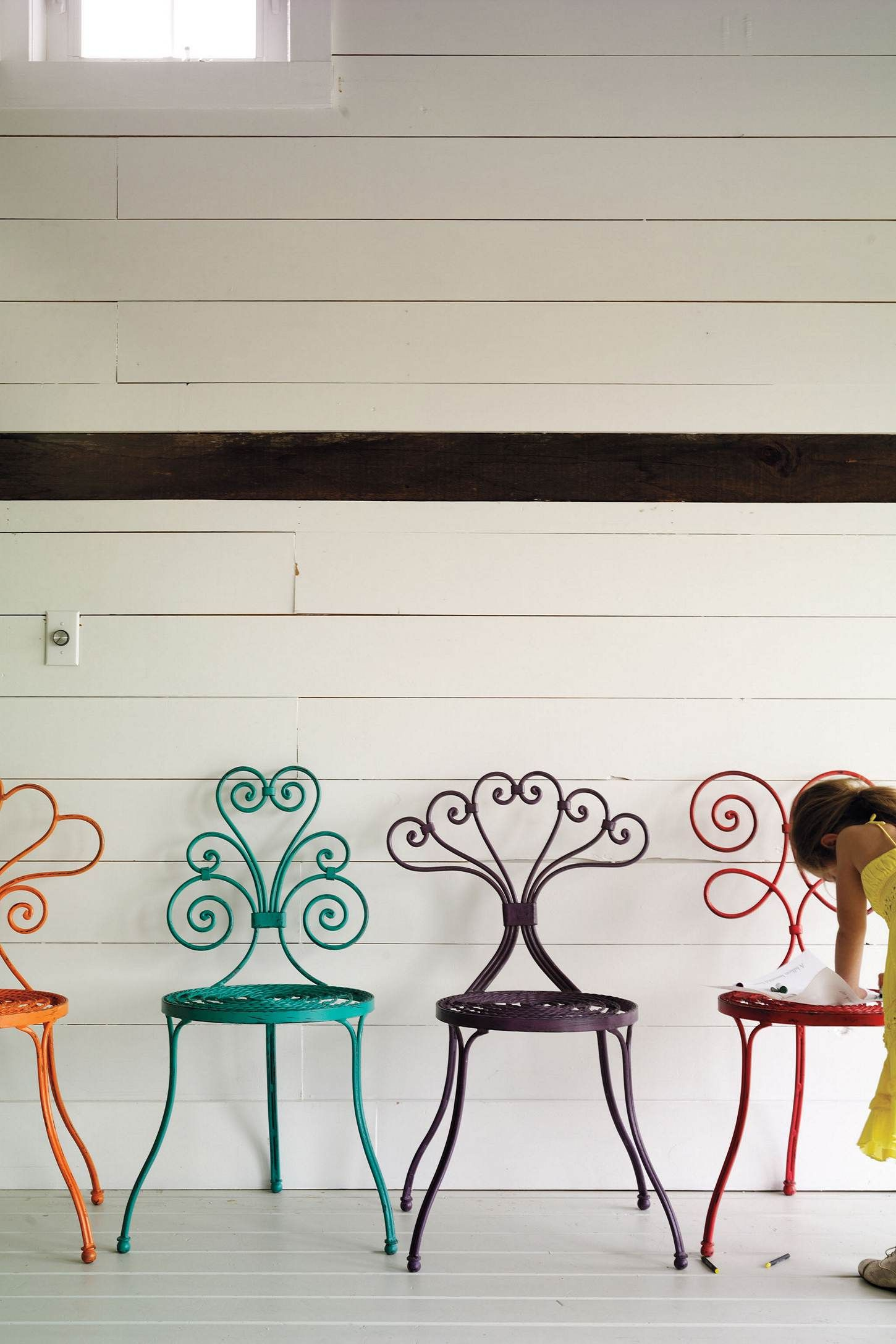 I have vintage table + chair set in white similar to these.    I'd like one in every color please. =) Iron Garden chairs from Anthropologie