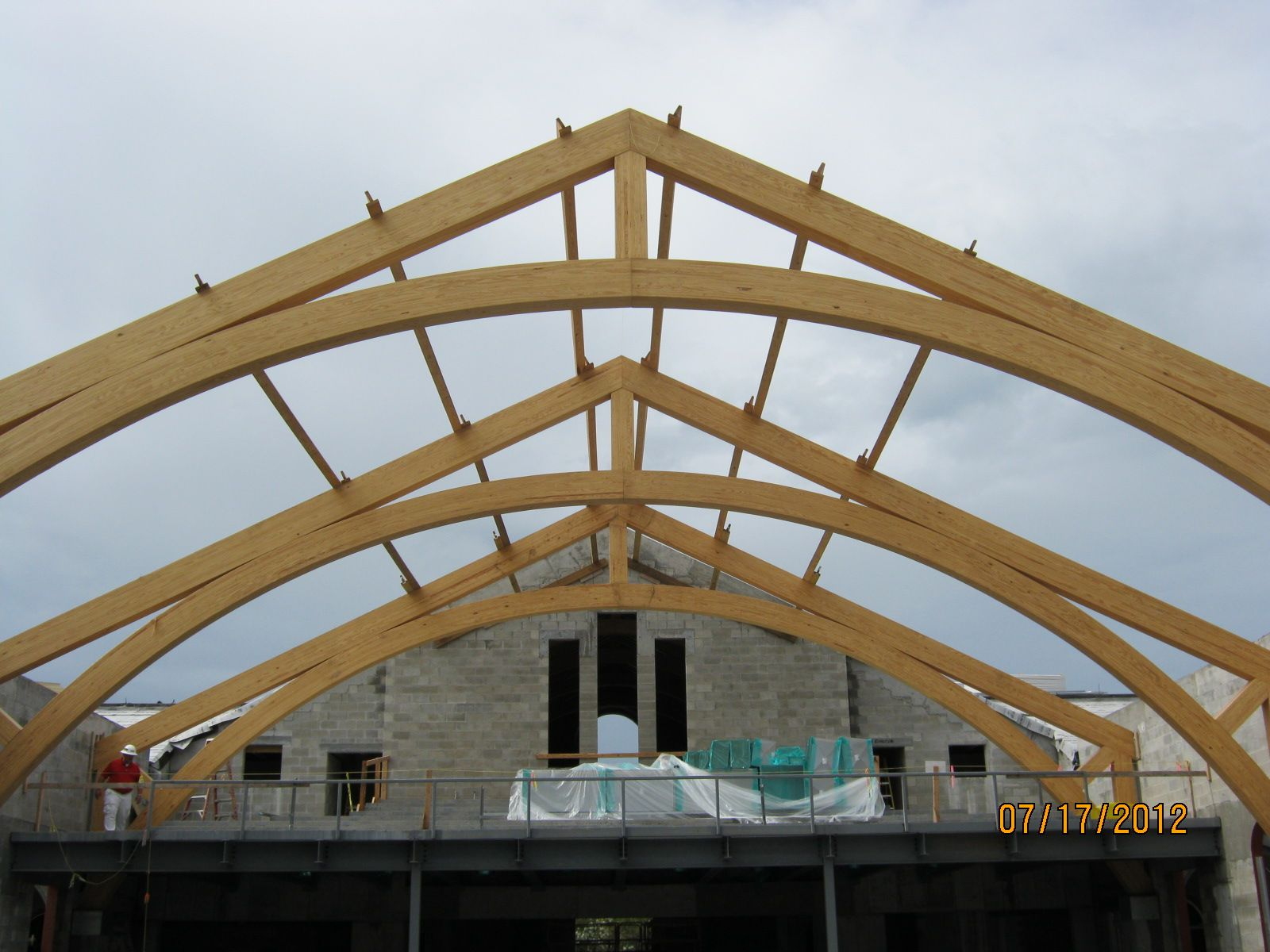 Wood Roof Systems : Wood truss system is long on centers steel