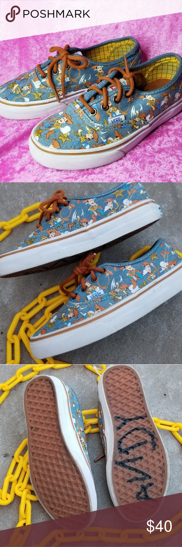 6e5d2c5ca9cf Toy Story Vans 🐎Reach for the Sky in these cute Vans Lowtops🐎 Woody is  lookin so adorbs on these! They even say Andy on the bottom of the shoe!  Whaatt!