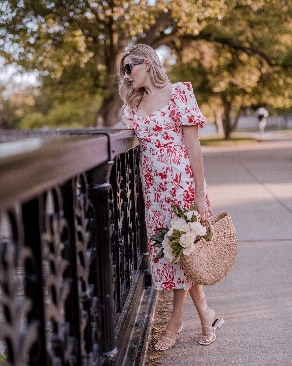 Red White Blooms 4th Of July Styles Lauren Luvs July Styles Work Outfits Women Puff Sleeve Dresses [ 1200 x 960 Pixel ]