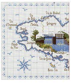 0 point de croix grille et couleurs de fils carte de la bretagne 1 point de croix pinterest - Grille point de croix mer ...
