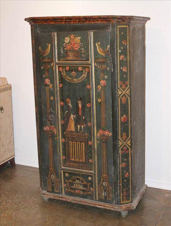 alsace folk art armoire - Google Search peinture sur bois