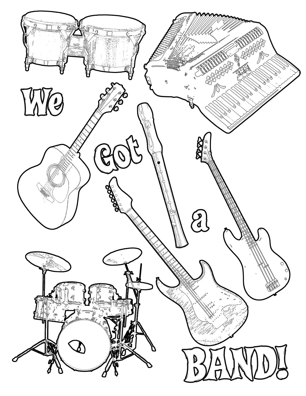 Musical Instruments Coloring Pictures For Kids