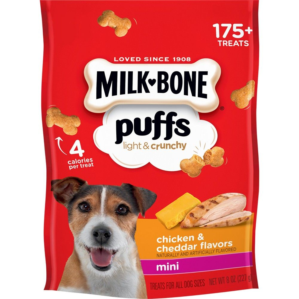 MilkBone Puffs Chicken & Cheddar Mini Dog Treats 8oz in