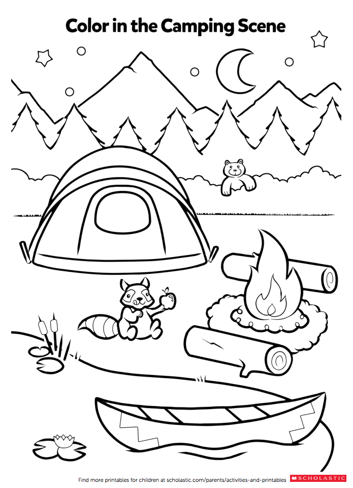 Campfire coloring activity preschool camping pinterest for Camping coloring pages for preschoolers