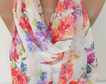 Floral Scarf Shawl Multicolor Scarf Cowl Scarf Chiffon Scarf Lightweight Scarf  Women Fashion Accessory Gift Ideas For Her For Mom SCARFCLUB
