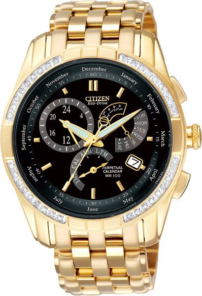 Watch Citizen Eco Drive Chronograph Diamond Set Stainless Steel Gold Plate Case And Bracelet Black Face Perpecu Mens Watches Citizen Watches For Men Gold Watch