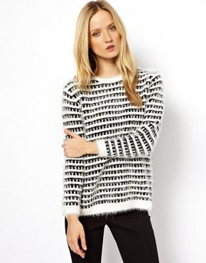 Whistles Monochrome Knit Jumper with Eyelash Tim