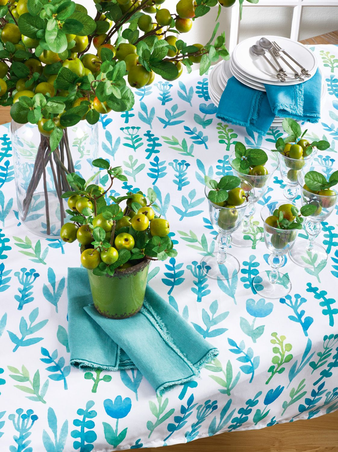 Aquamarina Collection In Blue Square Tablecloth Table Throw Saro Lifestyle