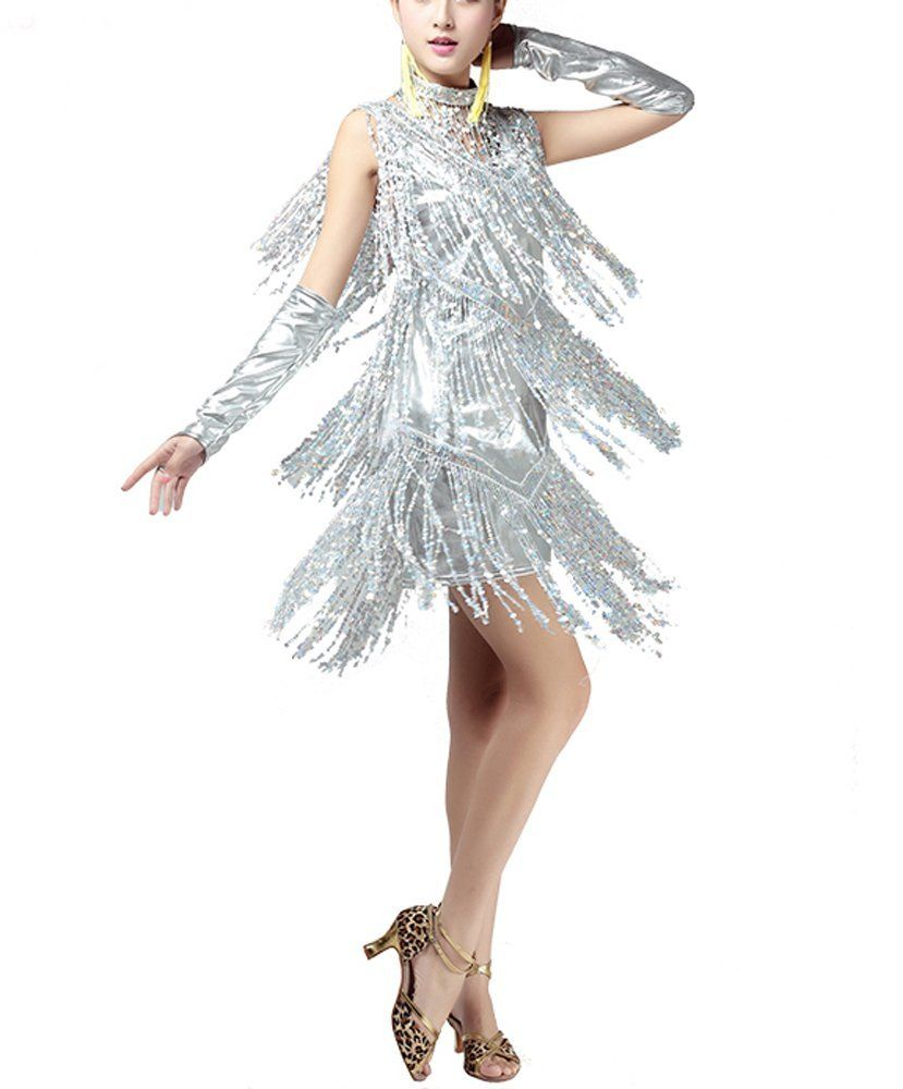 Sparkly Sequence Fringe 1920s Gatsby Fashion Flapper Dresses