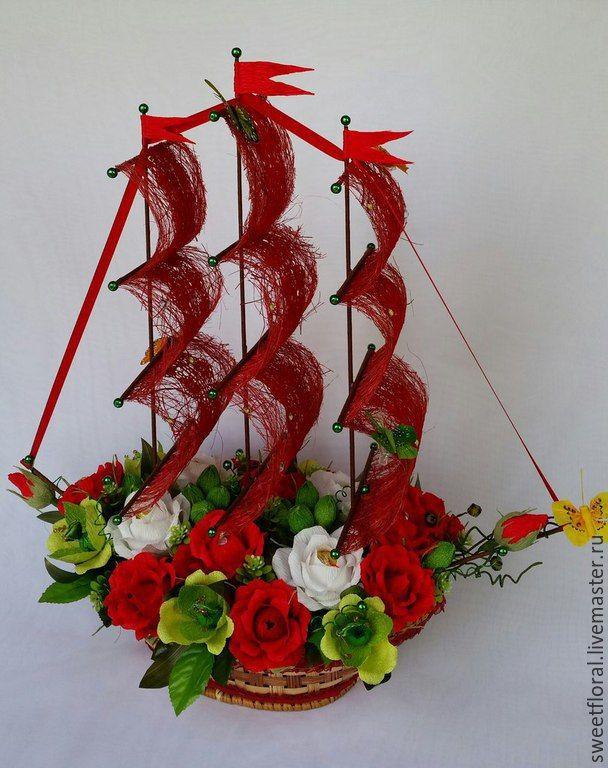 Букет из цветов кораблик