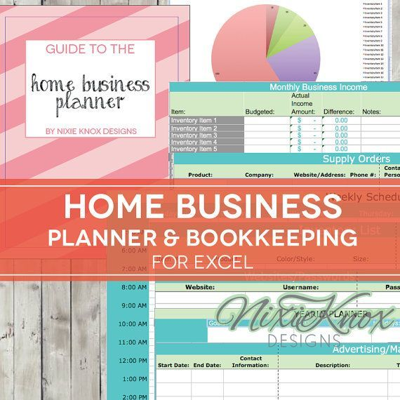 Home Business Planner - 2017 2018 Excel Spreadsheet - Etsy Seller - Bookkeeping Spreadsheet Template Free