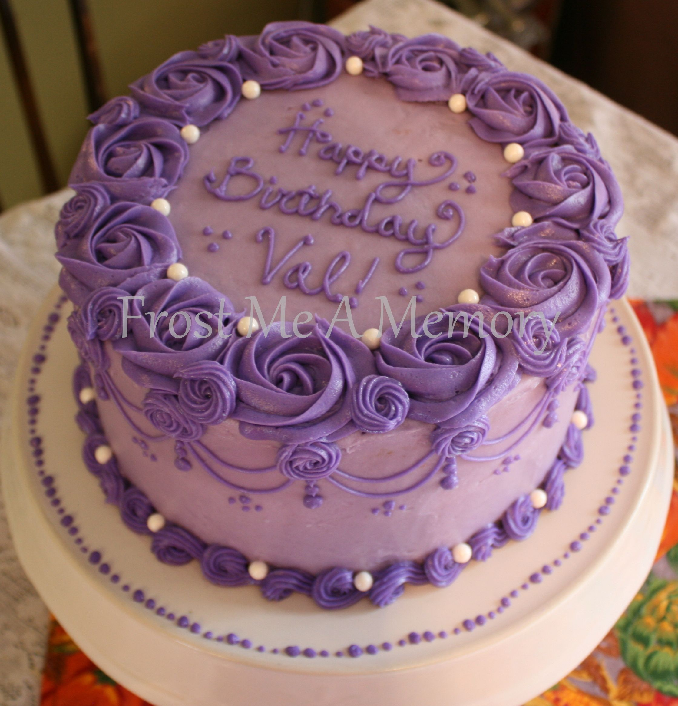 Beautiful Purple Birthday Cake Purple Cakes Birthday Round