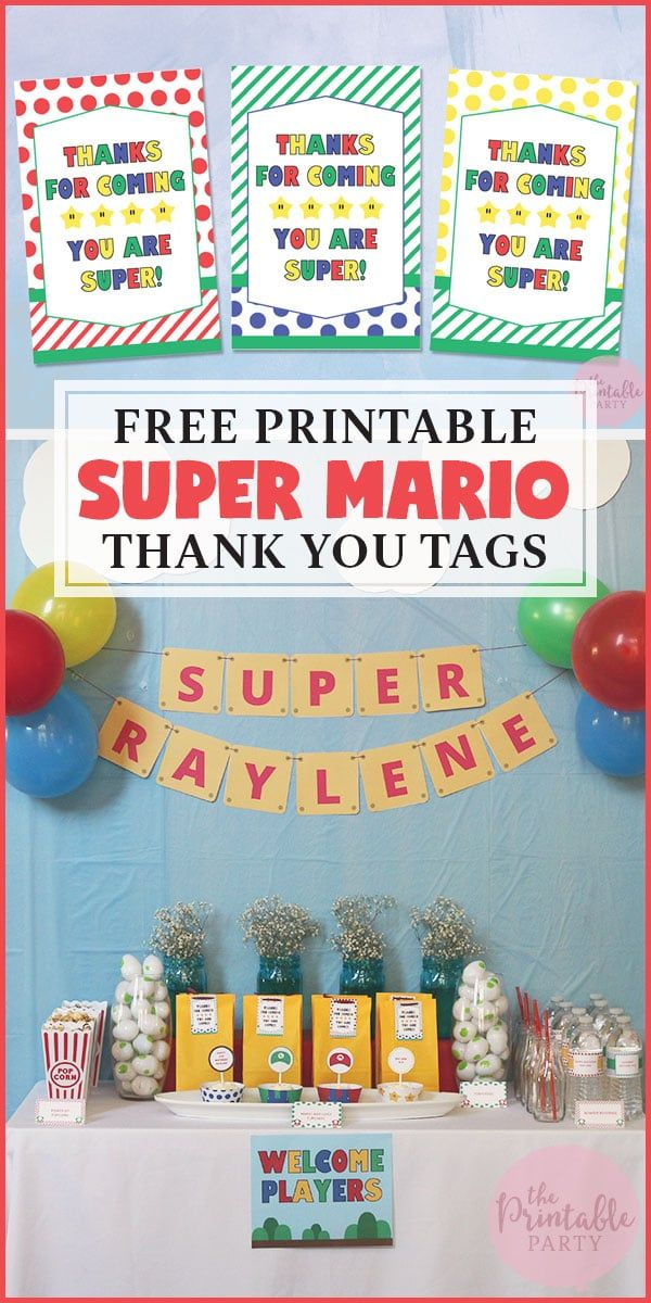 Super Mario Party Free Part Decor Printables And Thank You Gift Bag Tags