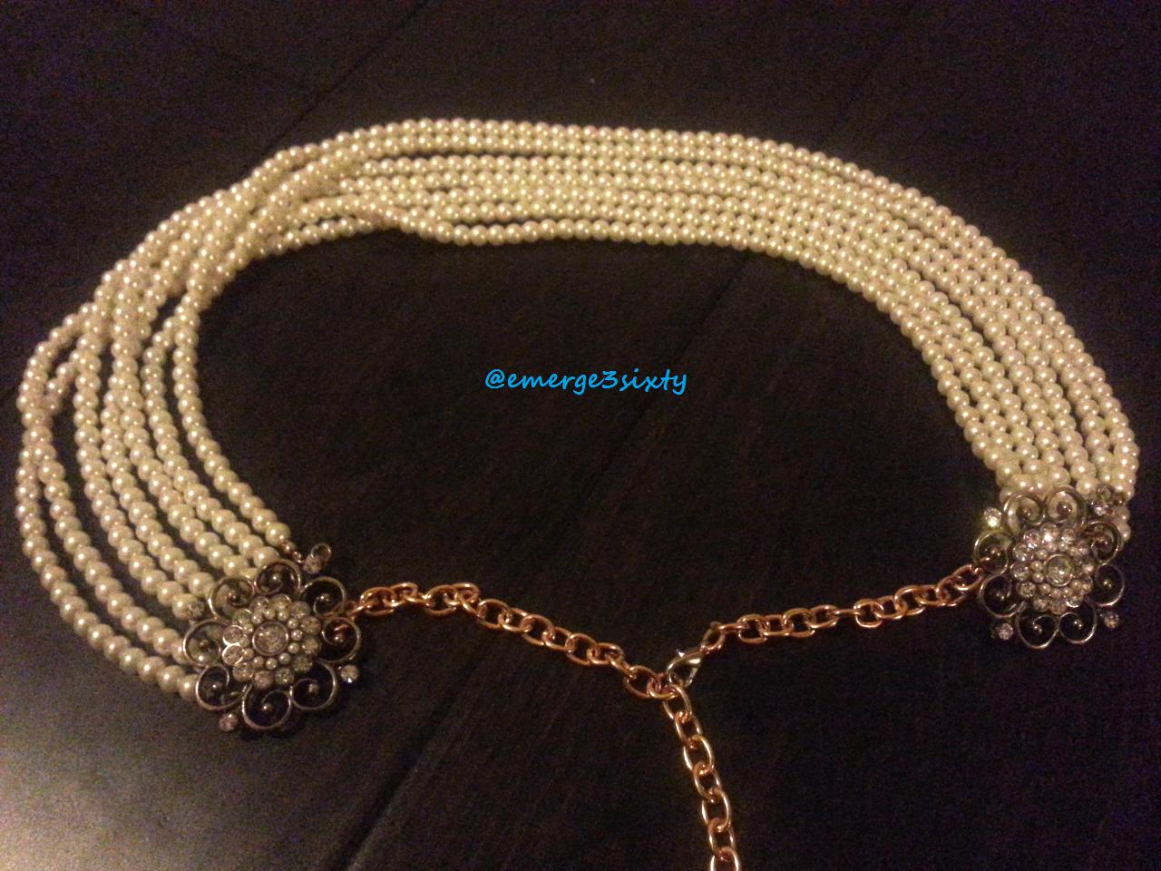 Handcrafted pearl jewel sari saree belt with gold chain treasure