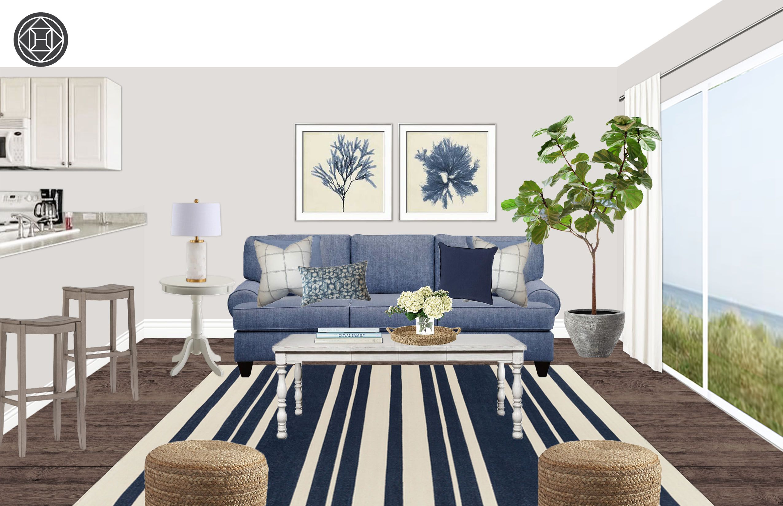 Classic Coastal Living Room Design By Havenly Interior Designer