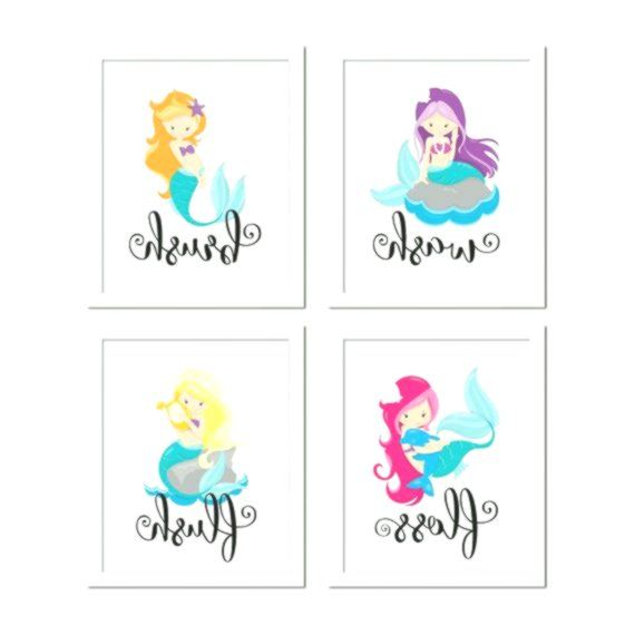 Set of 4 Little Mermaid Bathroom Rules, Girl's Bathroom Decor, Mermaid Decor, Kids Bathroom Decor, Bath Rules print, bathroom rules for kids #mermaidbathroomdecor