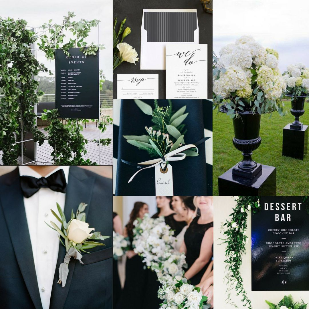 Black White And Greenery Wedding Vision Board Black Wedding Flowers Black And White Wedding Theme Green Themed Wedding