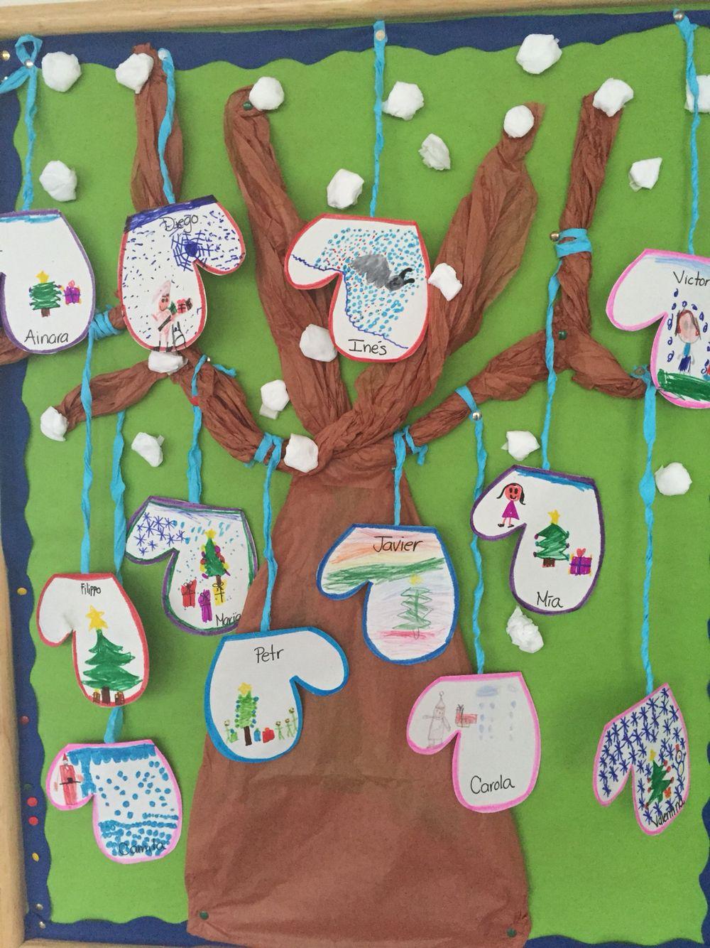 Guantes invernales dibujados por los niños