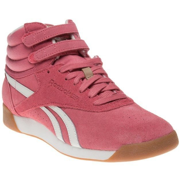 cd1197a61c80 New Womens Reebok Pink Freestyle Hi Suede Trainers Top Lace Up Velcro