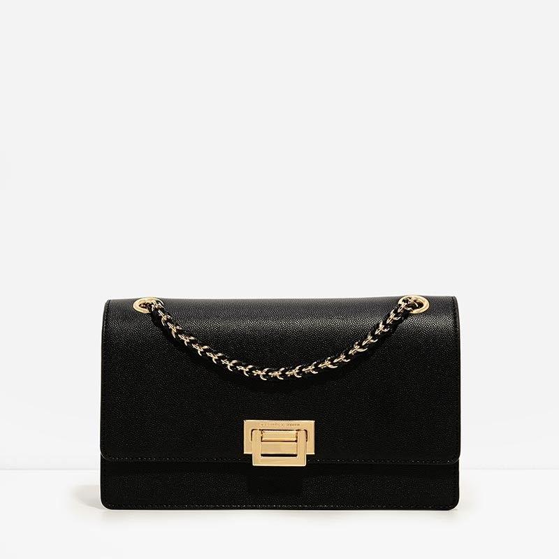 Black Weave Chain Shoulder Bag