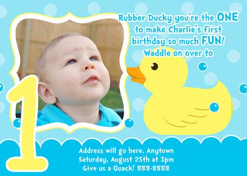 Rubber Duck Invitation Digital File 4X6 or 5X7 by digitalparties
