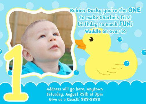 Rubber Duck Invitation Digital File 4X6 or 5X7 by digitalparties