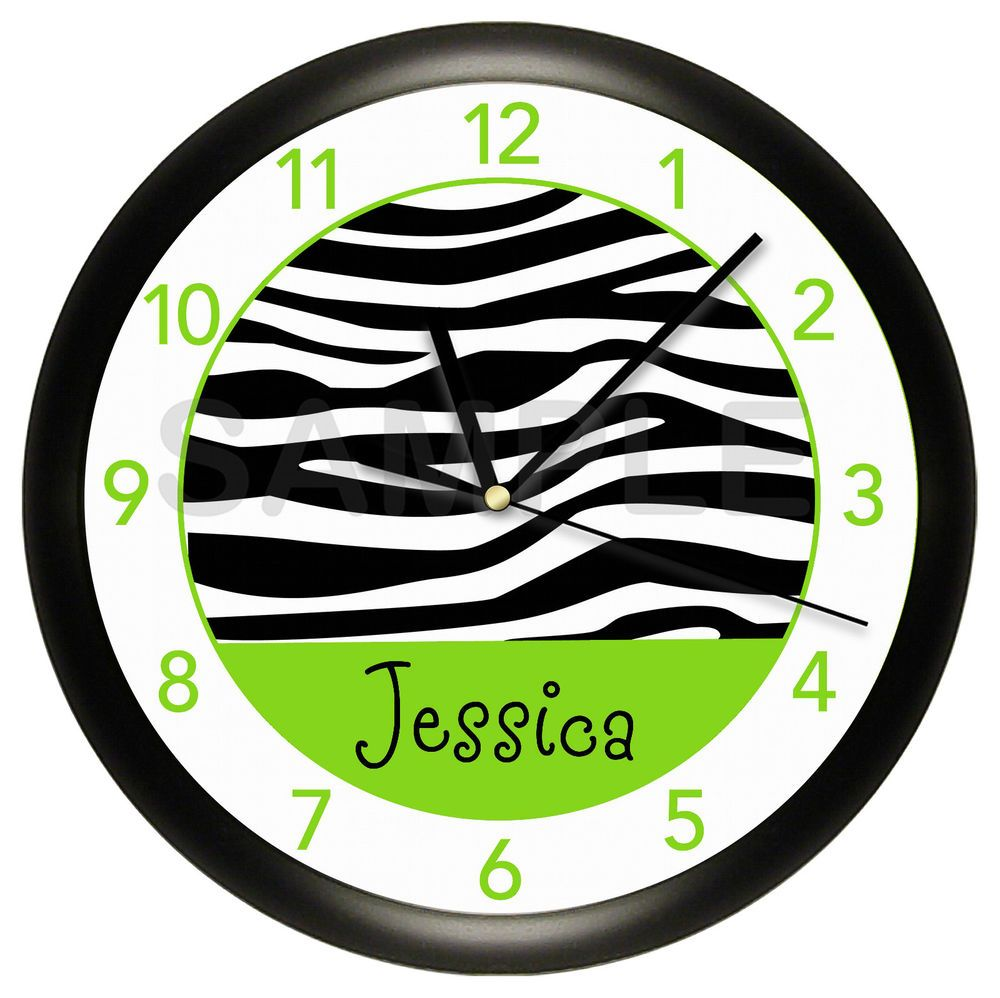 LIME GREEN BLACK ZEBRA PERSONALIZED WALL CLOCK GIRL ANIMAL PRINT GIRLS BEDROOM