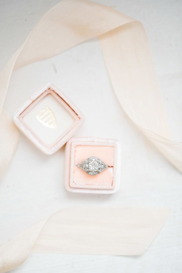 Vintage ring + a pretty blush hued box: http://www.stylemepretty.com/virginia-weddings/stevensburg/2016/06/24/this-pastel-inspiration-session-is-the-wedding-of-our-dreams/   Photography: Sarah Houston Photography - http://www.shoustonphotography.com/