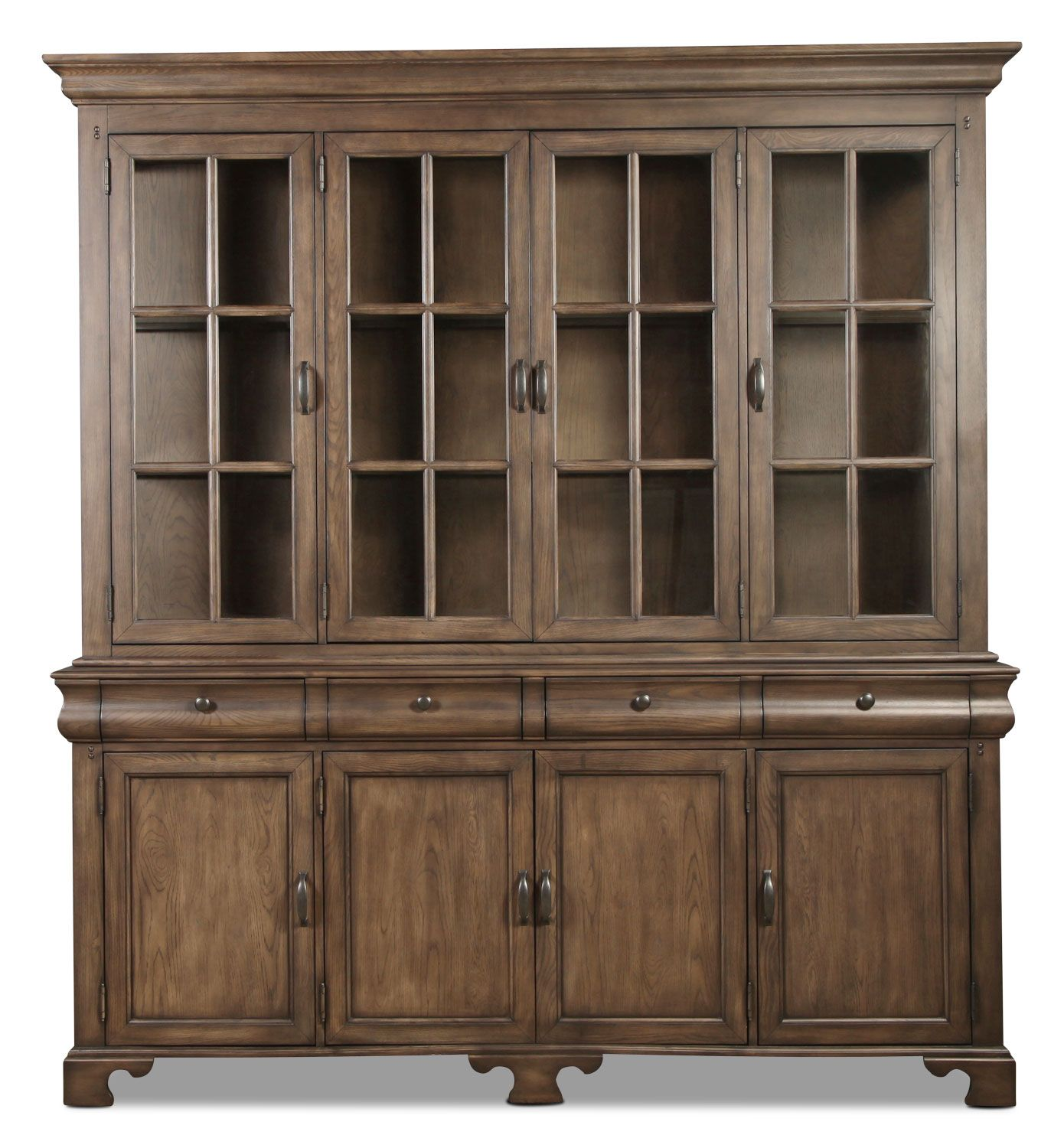 Natural Oak Finish Formal Contemporary Buffet w/Optional Hutch
