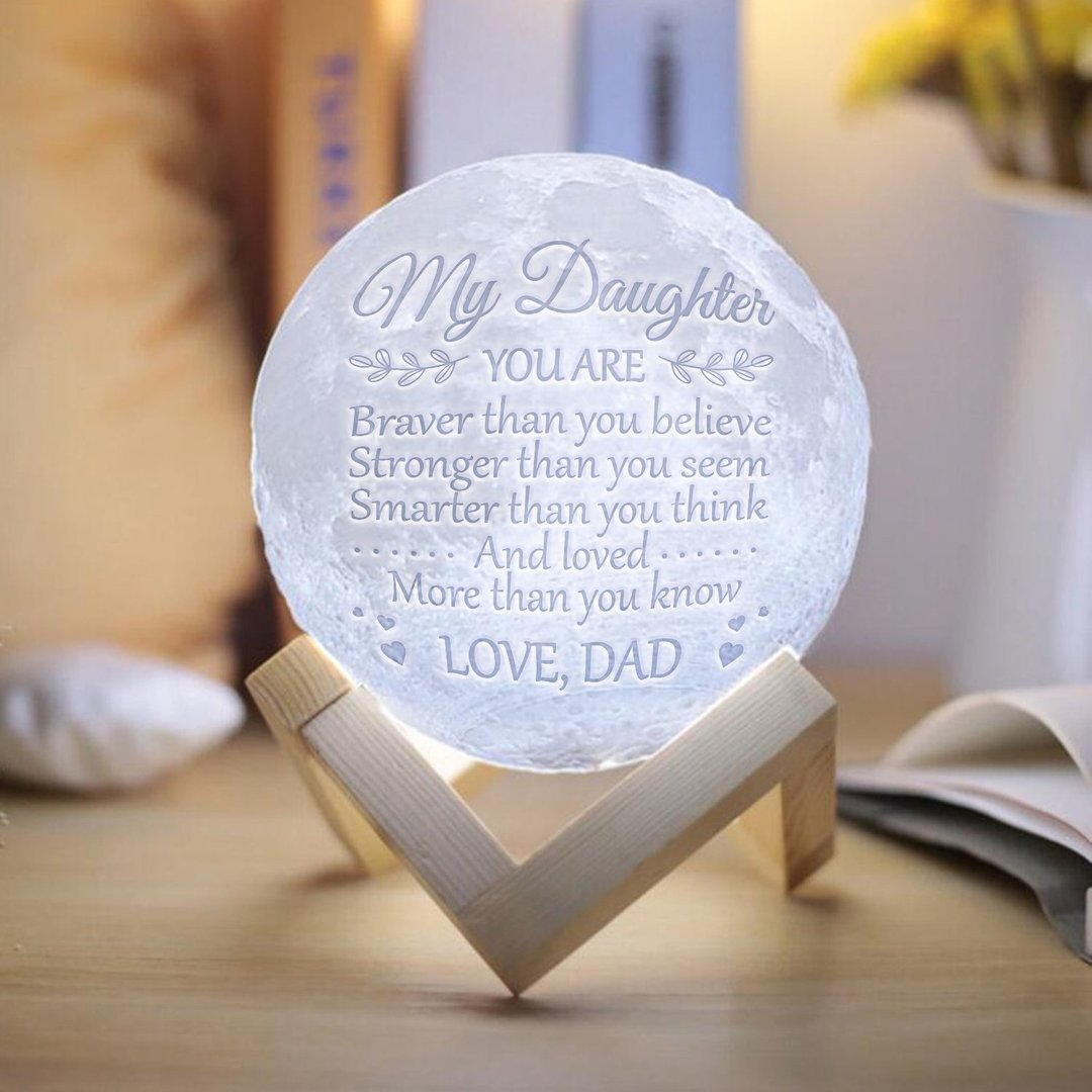 Dad Daughter Brave Smart Moon Lamp Christmas Gifts For Kids To My Daughter Great Gifts