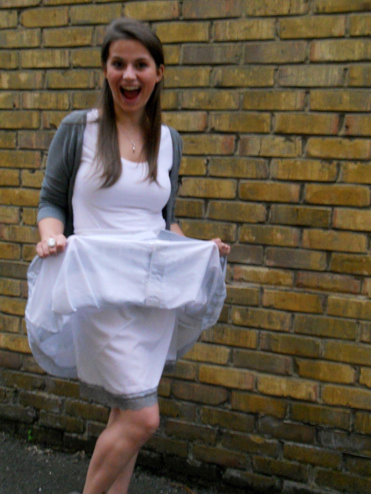 fancy dress upskirt Upskirt white slip, from Unmentionables